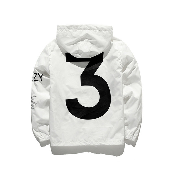 Kanye 3 Chaqueta rompevientos Hombres Mujeres Hip Hop Outwear Dropshipping