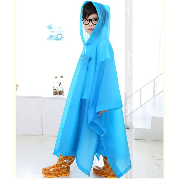 Children Raincoat Student Rainwear Kids Poncho Translucent Non-disposable Rain Gear Jelly Glue EVA Material Camp Tourism No odor