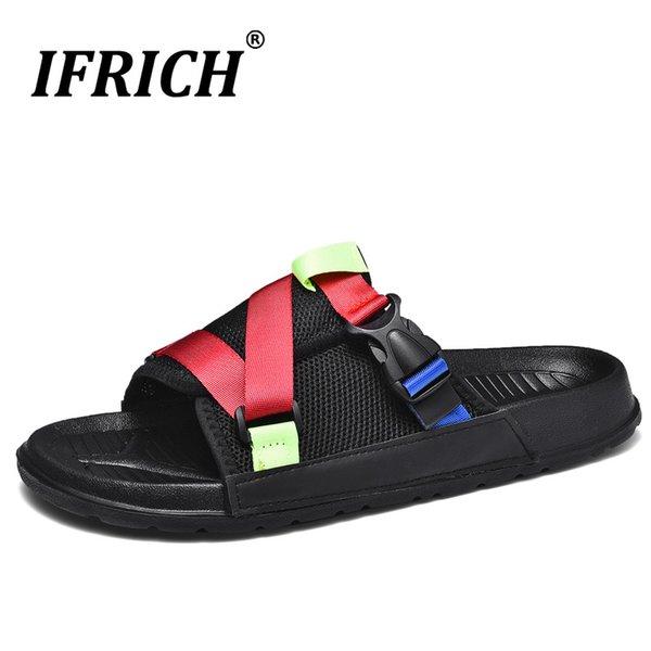 2019 été pantoufles hommes designer pantoufle pour hommes chaussures d'intérieur maille respirant mens pantoufles mode en plein air mens toboggans chaussures