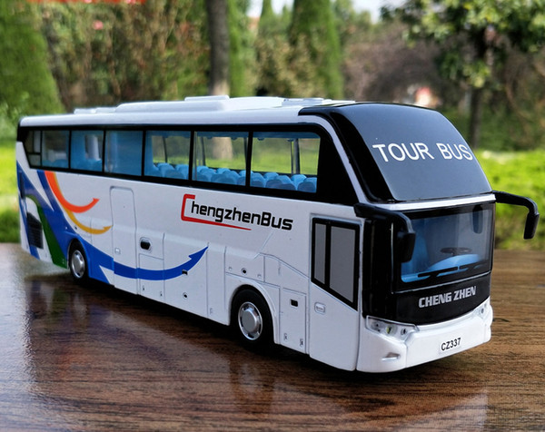 1:32 Scale Alloy Metal Diecast Car Model For Travelling Open Tour Tourist Bus Coaches Collection Pull Back Toys With Sound&Lights