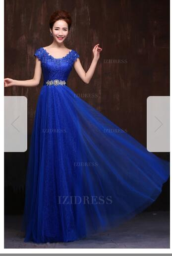 A-Line/Princess Scoop Floor-length Lace Tulle Evening Dress21 prom