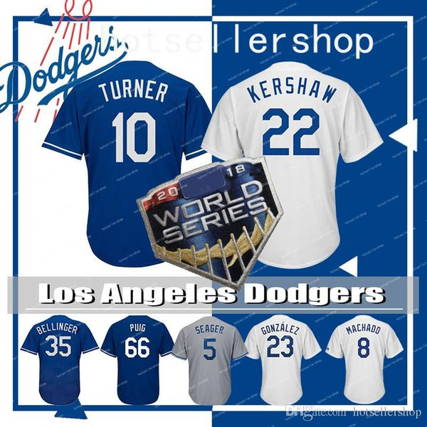 sale retailer 284ae 3d07a 2019 22 Clayton Kershaw Los Angeles Dodgers Mens 35 Cody Bellinger Baseball  Jersey 8 Manny Machado 10 Justin Turner 23 Adrian Gonzalez Puig 66 From ...