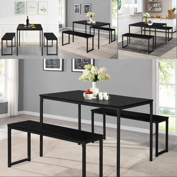 2019 Dining Set Table With 2 Benches Kitchen Dining Room Furniture Modern  Style Wood Table Top Metal Frame From Greatfurnishing, $148.25 | DHgate.Com