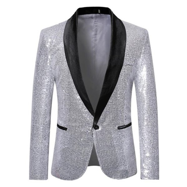 Men New Gold Silver Black Sequin Glitter Shiny Suit Blazer Jacket Fashion Party Night Club wedding DJ Stage Singer Clothes male