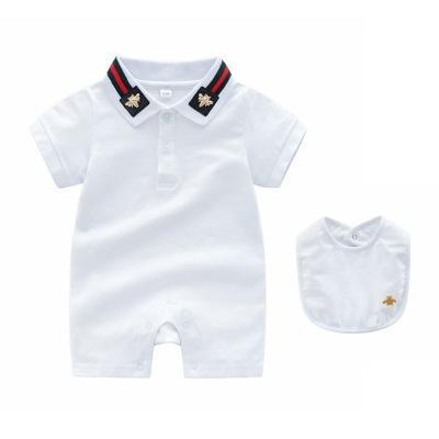 Bebek romper Yaz çocuklar tasarımcı sevimli bebek yaka yüksek kalite pamuk kısa kollu ekose romper + önlükler Set Giyim
