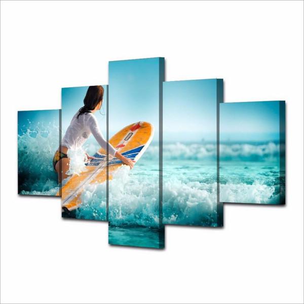 Surfer-Mädchen, 5 Stück HD-Leinwand-Druck Neue Hauptdekoration Kunst Malerei / Ungerahmt / gerahmt
