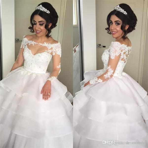 Beautiful Sheer Long Sleeve Lace Ball Gown Wedding Dress Applique Beading Tiered Organza Princess Bridal Dresses Custom Made Plus Size