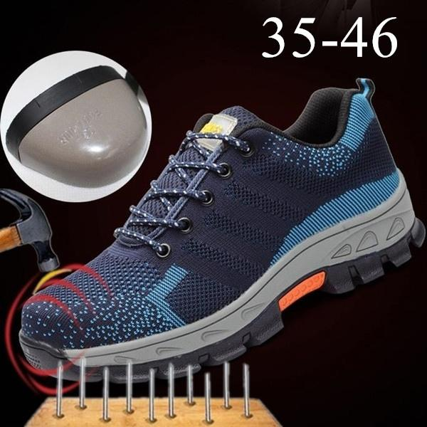 Men & Women Work Shoes Safety Shoes Steel Toe Anti-Smashing Sneakers Mesh Breathable Protective Shoes