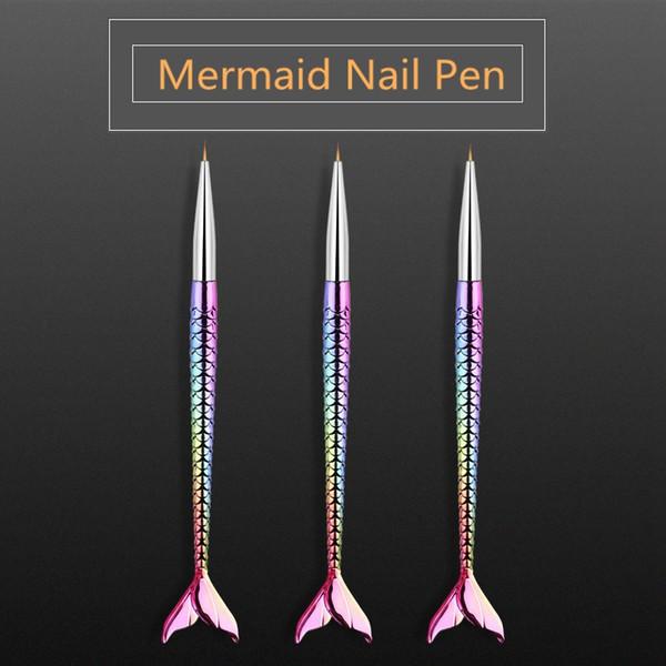 3 teile / satz Meerjungfrau Nail art Stift Pinsel Gel Erweiterung Pinsel Tipps Malerei Zeichnung Maniküre Pen Set Nagel Schönheit Werkzeuge HHA155
