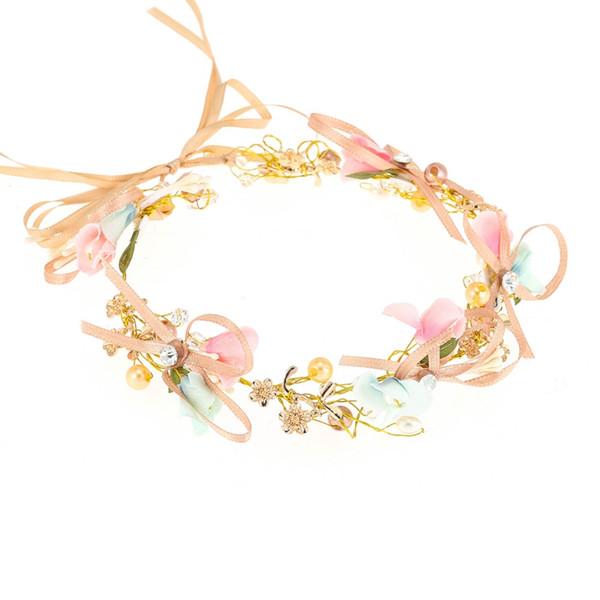 Ländlichen Braut Stirnband Kopfschmuck Gold Metall Bunte Blume Perle Kristall Braut Haarschmuck Kronen Schmuck Für Prinzessin Mädchen