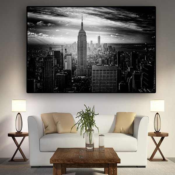 1 Pcs New York City Manhattan Black White Building Canvas Painting Posters and Prints Scandinavian Wall Art Picture No Frame