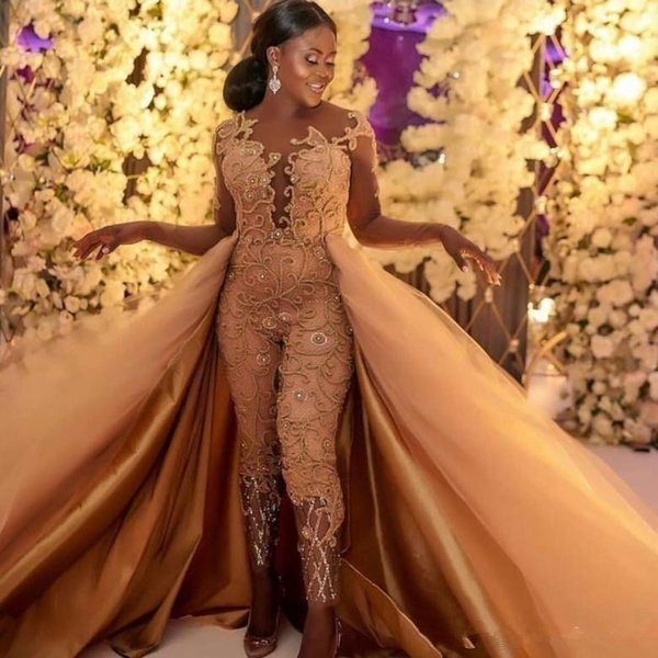 2019 Classic Jumpsuits Prom Dresses With Detachable Train Long Sleeves Lace Appliqued Evening Gowns Luxury African Party Women's Pant Suits