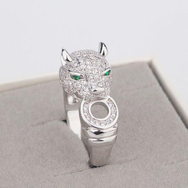 Luxus Casual Silber Ringe Exquisite Cheetah Ring Voller Diamanten Tiere Kopf Silber Ringe Hot Fashion Ehering Edlen Schmuck Liebhaber Geschenk