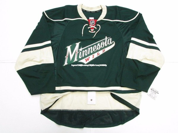Cheap custom MINNESOTA WILD THIRD TEAM ISSUED JERSEY stitch add any number any name Mens Hockey Jersey GOALIE CUT 5XL