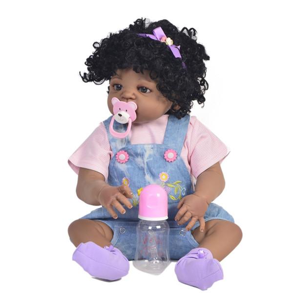 babymom / Black doll bebes reborn 57cm Full Body Silicone Reborn Baby girl Toys Newborn Princess Doll Child Bathe Toy bonecas