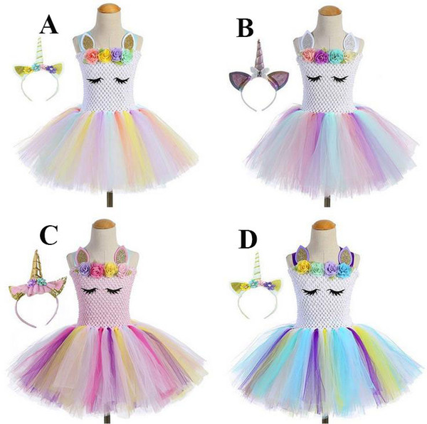 2019 Girls Pageant Dresses Spaghetti Straps Unicorn Short Kids Dress for Prom Party Colorful Handmade Flower Kids Tutu Dresses