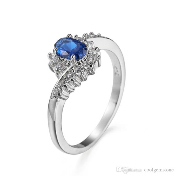 Bulk 3 Pcs/lot Women Holiday Gift Jewelry Unique Blue Crystal Cubic Zirconia Gems 925 Sterling Silver Plated Wedding Party Ring New