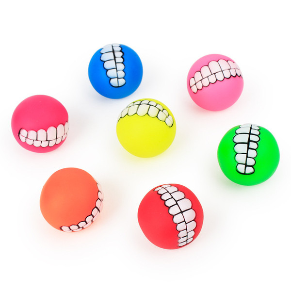 best selling 6 kinds of pet toys of different colors 7.5 cm enamel vocal teeth ball dog training ball toy dog supplies T3I5215