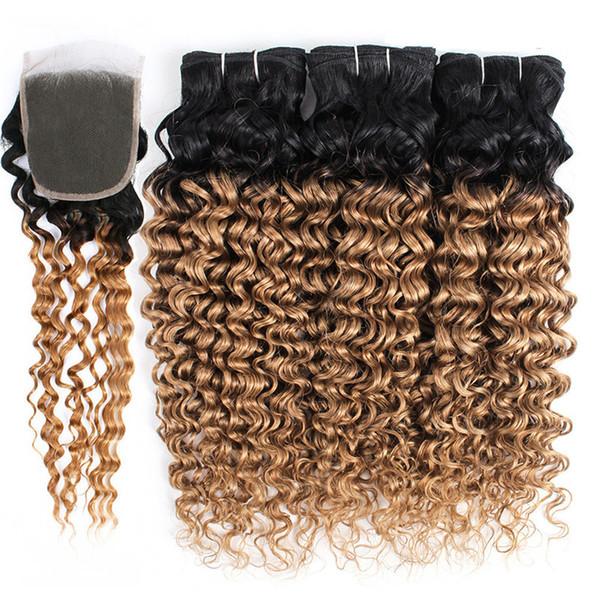Темно-коричневые медово-русые омбре пучки глубоких волн с кружевной застежкой двухцветные 1B / 27 светло-коричневые глубокие вьющиеся девственные перуанские волосы человека
