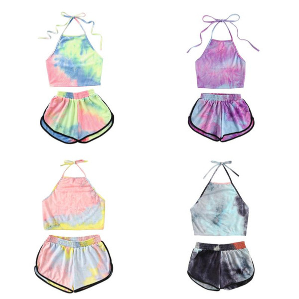 Womens Sexy Summer Two Piece Set Tie-Dye Gradient Colored Printed Halter Backless Crop Top Wide Leg Shorts Pants Suit Beachwear