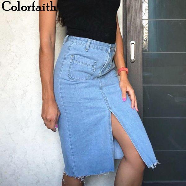 Colorfaith New 2018 Women Casual Straight Denim Midi Skirt Spring Summer With Pocket Slit High Waist Mid-calf Femininas Sk8171 Y19043002