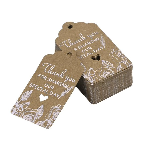 50pcs Cute Brown Paper Gift Tags Thank You Kraft Paper Tags Wedding Favor Gift Hang Tag Party Supplies A3
