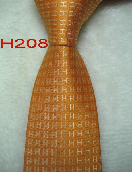 H208 # 100% Шелковый жаккардовый плетеный мужской галстук ручной работы