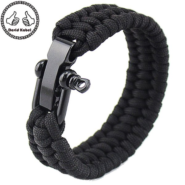 Wristband Wrap Mens Paracord with Stainless Steel D Shackle - Adjustable Size Fits Wrists Bileklik Bilezik