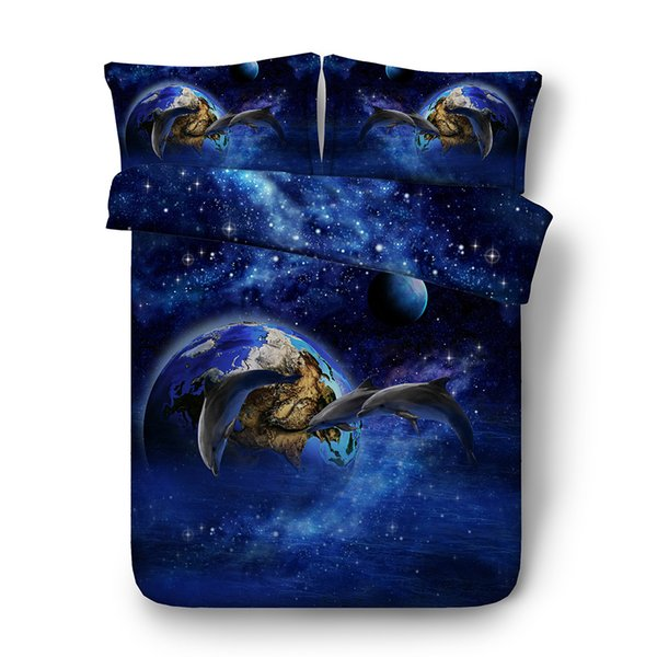 Blue Galaxy Dolphin Bedding Sets 3pcs Bed Cover With 2 Matching Pillowshams Tropical Ocean Sea Whale 3D Duvet Cover Set With Zipper Closure