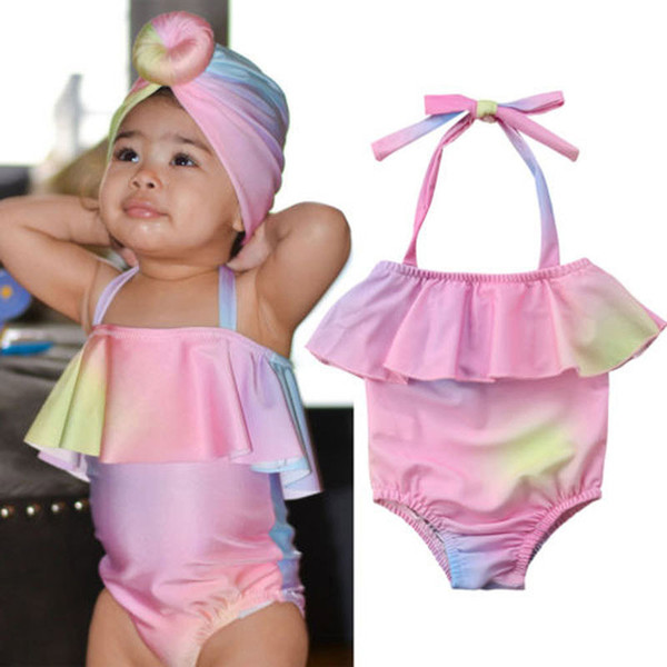 top popular Baby Girls Sling Swimsuit Newborn Baby Ruffle Swimwear Kids Casual Clothes Infant Summer Baby Rainbow Gradient Backless Swimsuit 06 2021