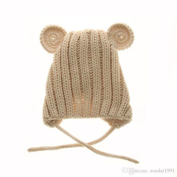 Girls and boys cute cartoon winter bear baby hat children ear hand knitting wool cap sleeve head Infant's beanies Headwear