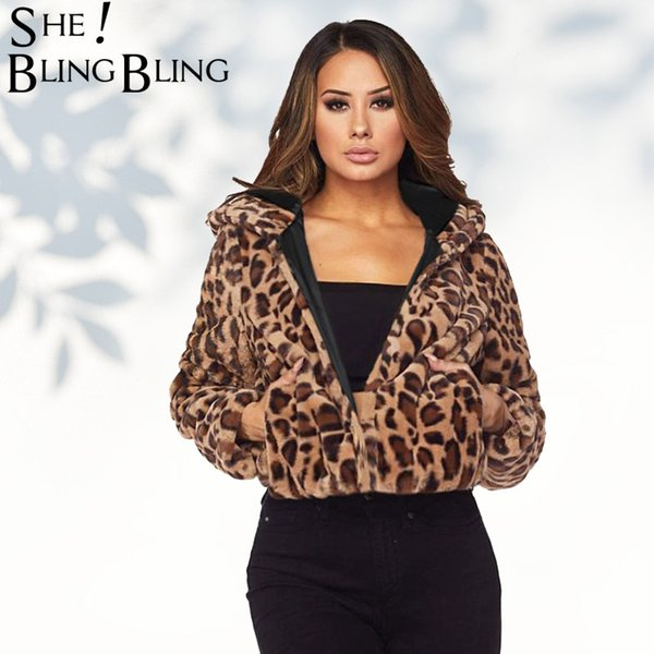 SheBlingBling Winter Fashion Short Coats Leopard Print Faux Fur Plush Coat Women Long Sleeve Hooded Collar Streetwear Jacket