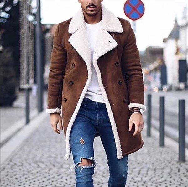 best selling Winter Mens Designer Jacket Fashion Thick Warm Fleece Faux Leather Coats Brand New Double Breasted Mens Coat