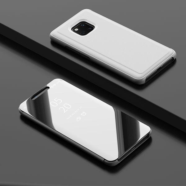50 unids Luxury Mirror Clear View Case para Huawei Mate 8 9 10 20 pro lite X cubierta del teléfono Base de galjanoplastia soporte vertical