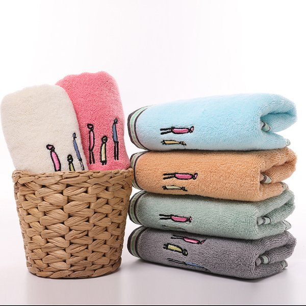 3 PCS Cotton-dyed 32-strand towel water-absorbing plain color family embroidered face towel 34*75cm