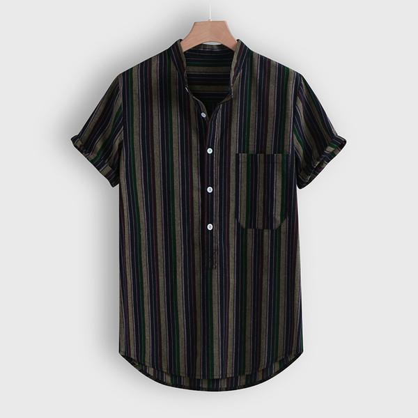 Korean Harajuku Gestreifte Hemden Männer Kurzarm Herrenhemden Hip Hop Streetwear Beiläufige Lose Arbeitshemd Männliche Unterhemden