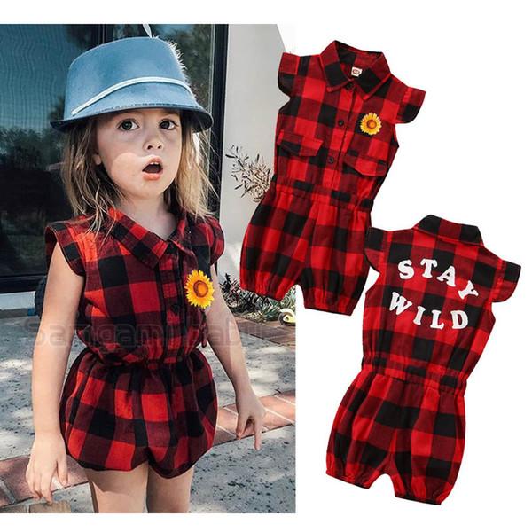Venda quente Ins baby romper Verão Xadrez meninas macacão de bebê recém-nascido menina roupas de bebê infantil menina roupas de grife recém-nascido macacão A6166