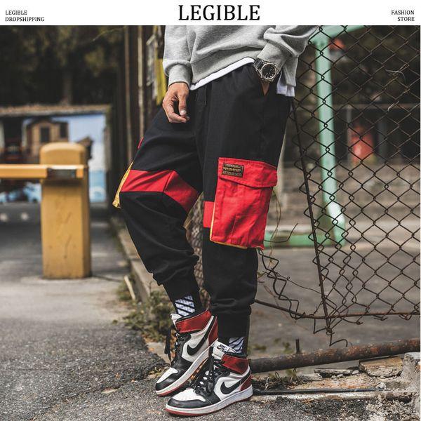 legible men hiphop sweat pants man color block joggers pants male fall streetwear black cargo plus size trousers - from $31.40