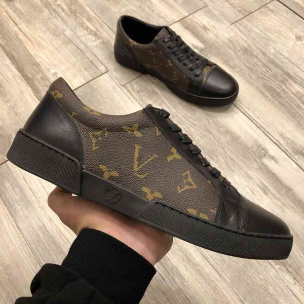 Top luxury Men Dress Shoes 2019 new printing Genuine leather fashion Low help Flat classic casual shoes With original box size 11