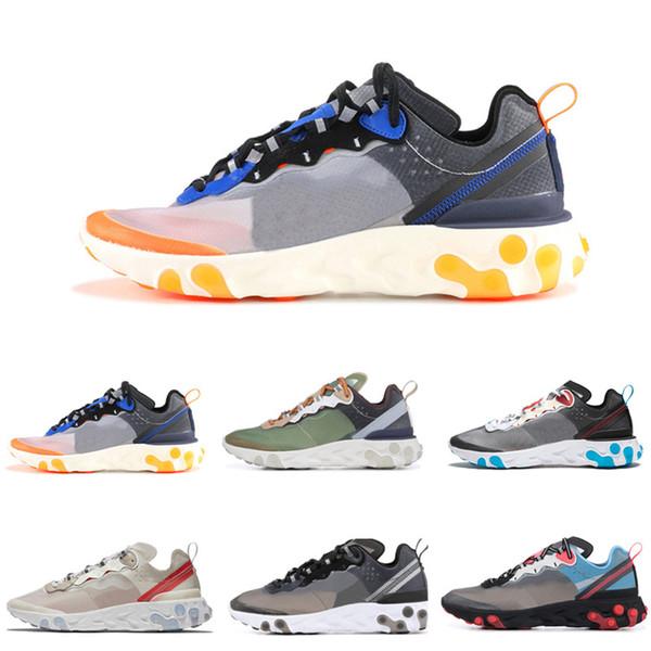 2018 Epic React Elemento 87 Undercover Men Running Shoes Para As Mulheres Designer de Tênis Esportivos Dos Homens Sapatos Formadores Vela Osso de Luz E-1250AE