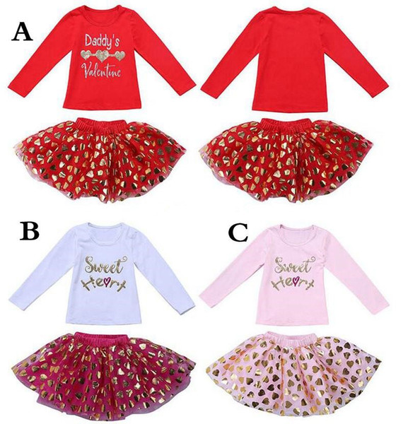 Valentines Day Girl Outfits Letter Print Long Sleeve Shirt Tops & Sequin Polka dot tutus skrits 2pcs Set