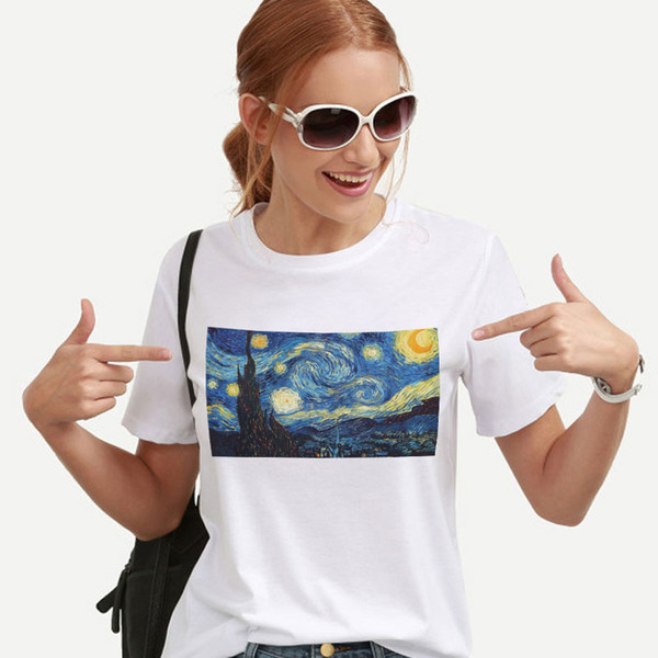 Harajuku Streetwear Gogh Painting Clothes Korean Style Ulzzang Tops Aesthetic T-shirt The Starry Night Female T-shirt