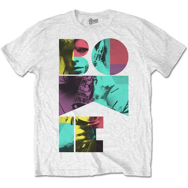David Bowie Mens White Short Sleeve Colour Saxophone Men Women Unisex Fashion tshirt Free Shipping Funny Cool Top Tee White