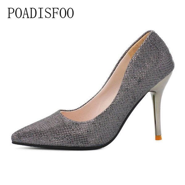 Designer Dress Shoes POADISFOO 2019 Spring Summer Women Occupational high heels Pumps for lady thin heel Sexy Grey Color .FLT-898
