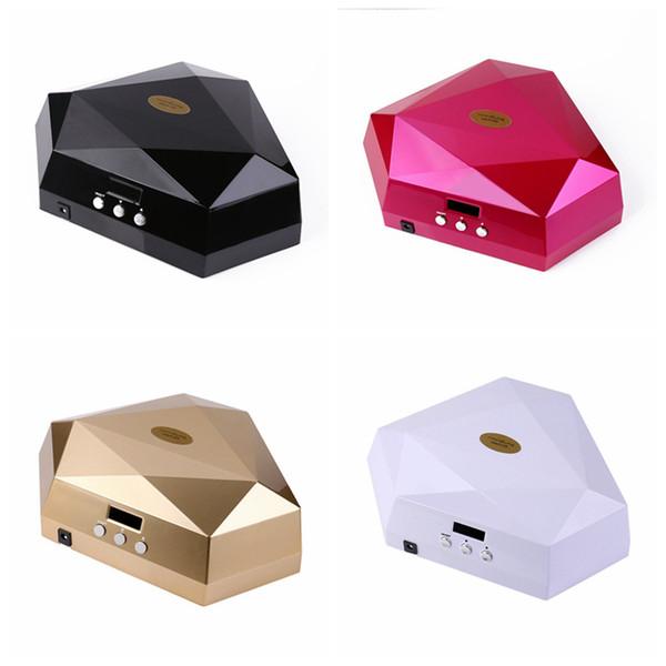 60W doble manos secador de uñas UV LED lámpara Forma de diamante UV LED lámpara de uñas Aplique A UV Gel Polish RRA616