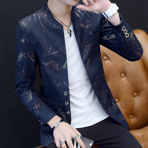 chaqueta masculino 2019 Hombres chaqueta coreana de impresión ocasionales adelgazan la chaqueta del juego de machos Blazers capa de los hombres Tamaño Terno Masculino Plus 6XL-M