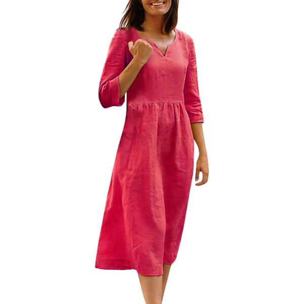 Vestido de verano de mujer medias mangas Vestidos de vacaciones casuales sólidos Vestidos de algodón y lino mujer fiesta noche vestido de playa vestidos