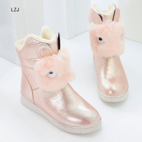 LZJ Snow Boot Women Winter Flat Long Plush Ladies Shoes Elegant Woman Black Silver Gold Ankle Boot Botas Mujer Invierno