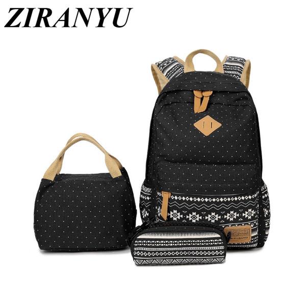 3 Pcs/set polka dot women backpack canvas printing school bags for teenagers girls backpacks cute schoolbag kids pen pencil case