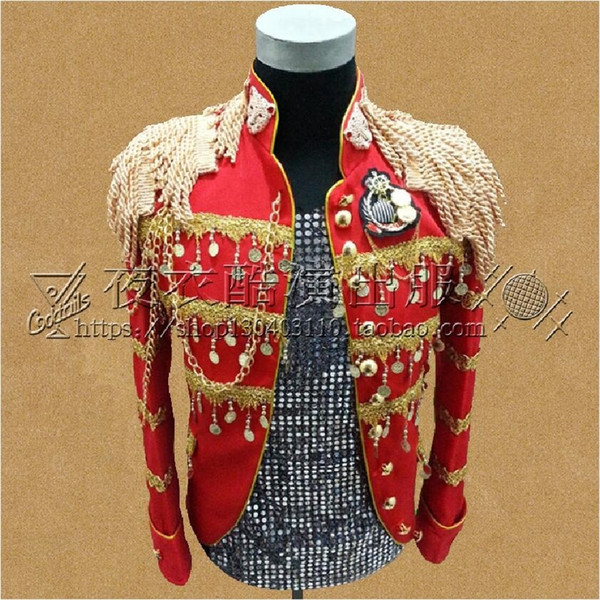 Wedding Sequins Suit Men Blazers Stage Costumes For Male Singers DJ Black Red Stand Collar Military Clothing Suits Jacket Party #556069
